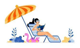 ilustração de férias felizes de mulher tomando banho de sol e curtindo férias na praia em paz, sob guarda-sóis e na espreguiçadeira. O projeto do vetor pode ser usado para banner de cartaz site de anúncio de web marketing móvel