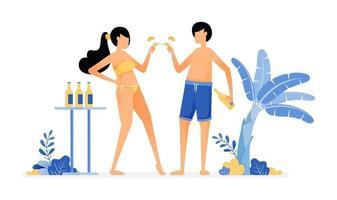 ilustração de férias felizes de amantes brindando com um copo de cerveja, curtindo as férias e dando uma pequena festa por design de vetor de praia pode ser usada para banner de pôster website