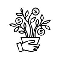 mão e árvore com dinheiro vetor