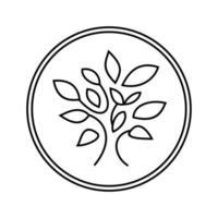árvore do logotipo do vetor em um círculo