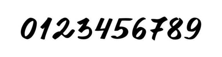 números de 0 a 9 pretos em um fundo branco vetor