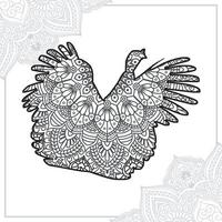 mandala de avestruz. elementos decorativos vintage. padrão oriental, ilustração vetorial. vetor