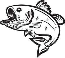 ilustração em vetor preto e branco de peixes pulando