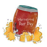 Tambor de cerveja grande com respingo e caneca de cerveja vetor