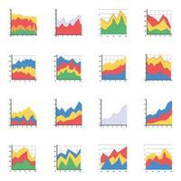 gráficos de área empilhados na horizontal vetor