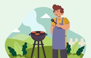 fazendo churrasco ao ar livre vetor