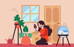 conceito de jardinagem em casa vetor