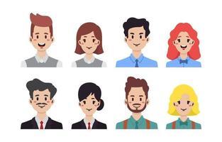 conjunto de avatar de negócios de pessoas vetor