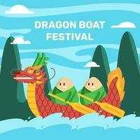 celebração do festival do barco dragão vetor