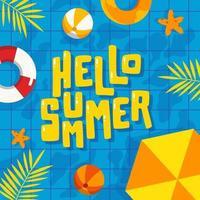 olá fundo de piscina de verão vetor