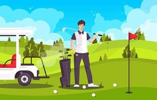 jogador de golfe e seus tacos de golfe no campo de golfe vetor