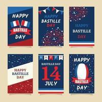 coleção de cartões comemorativos do dia da bastilha vetor