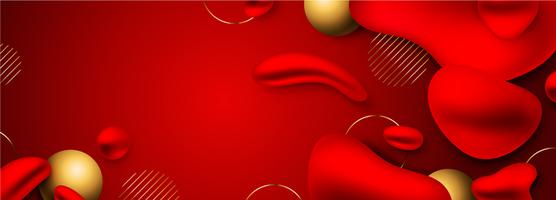fundo de banner longo líquido vermelho e dourado vetor