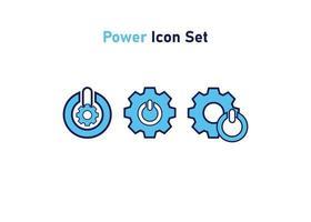 ícone definido com o símbolo de poder. conceito de configuração de energia. ilustração vetorial, conceito de ícone de vetor. vetor