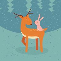 Ilustração em vetor amigo animais fofos