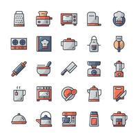 conjunto de ícones de cozinha com estilo de cor de contorno. vetor