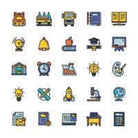 conjunto de ícones de volta às aulas com estilo de cor de contorno. vetor