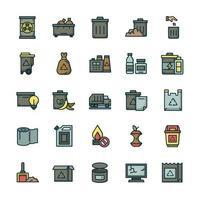 conjunto de ícones de resíduos com estilo de cor de contorno. vetor
