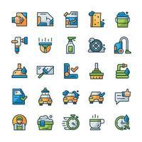 conjunto de ícones de lavagem de carros com estilo de cor de contorno. vetor