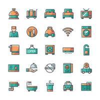 conjunto de ícones do hotel com estilo de cor de contorno. vetor