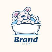 Modelo de Design de logotipo retrô de solução de cuidados de saúde de animal de estimação de lavagem de cão vetor