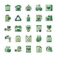conjunto de ícones de ecologia com estilo de cor de contorno. vetor