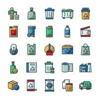 conjunto de ícones de lixo com estilo de cor de contorno. vetor