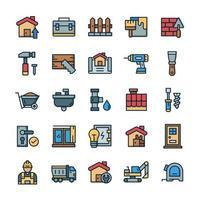conjunto de ícones de casa e renovação com estilo de cor de contorno. vetor