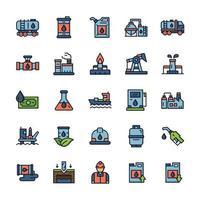 conjunto de ícones da indústria de petróleo com estilo de cor de contorno. vetor