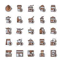 conjunto de ícones de café com estilo de cor de contorno. vetor