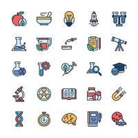 conjunto de ícones de ciência com estilo de cor de contorno. vetor