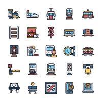 conjunto de ícones ferroviários com estilo de cor de contorno. vetor