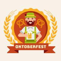 Oktoberfest com o homem no vetor de Lederhosen