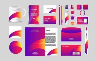 kit de papelaria de negócios colorido abstrato vetor