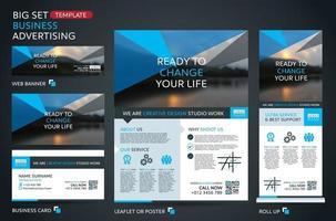 grande conjunto de modelo para publicidade empresarial. brochura, modelo de folheto. portfólio de apresentação de livro de capa. vetor