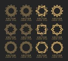 conjunto de vetores de elementos de design linear, modelos de design de logotipo e emblemas de linha mono para embalagens