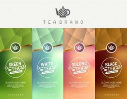 conjunto de vetores de modelos de embalagem de chá, logotipo, etiqueta, banner, cartaz, identidade, branding. design elegante para chá preto - chá verde - chá branco - chá oolong