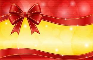 laço de fita vermelha com ouro brilhante e fundo vermelho vetor