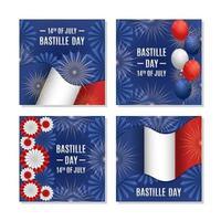 coleção de cartões de festividade do dia da bastilha vetor