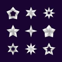 coleção de ícones de estrela de prata vetor