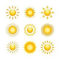coleção de ícones de sol vetor