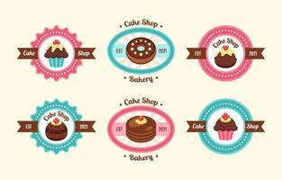 coleção de logotipo de bolo colorido vetor