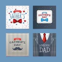 conjunto de cartões de dia dos pais com elemento pai vetor