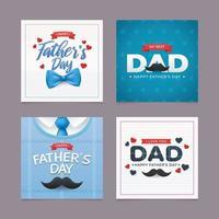 conjunto de cartões de dia dos pais com gravata borboleta e bigode vetor