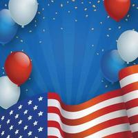 fundo do dia da independência dos EUA com balão e bandeira vetor