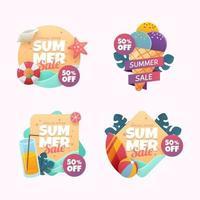 conjunto de crachá de oferta de liquidação de verão vetor