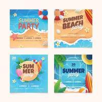 conjunto de cartão de festa de verão vetor