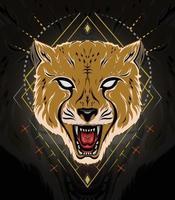 ilustração do logotipo da chita. chita de vetor com cara que ruge