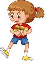 personagem de desenho animado de garota feliz abraçando sanduíche de comida vetor