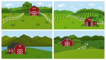 conjunto de paisagem de campo de montanhas de floresta verde com celeiro vermelho vetor
